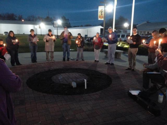 Prayer vigil for the U.S. elections Monday night at the town hall by members of the startup Good Samaritan Church in Brownsburg, Indiana. (parish photo)