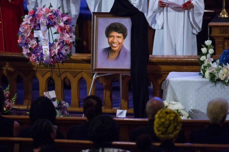 The funeral for television journalist Gwen Ifill was held at the historic Metropolitan African Methodist Episcopal Church in Washington, D.C. over the weekend, with photos, audio and video clips and the reminiscences of friends and colleagues, from President & Mrs. Obama to former Attorney General Eric Holder and Judy Woodruff, her co-anchor on the PBS NewsHour; the service lasted three hours. Ms. Ifill was the daughter of an AME pastor who emigrated from Barbados to New York City before she was born. At times they were so poor they lived in public housing, but she grew up to be a beloved, authoritative reporter who interviewed presidents and billionaires. (Al Drago/The New York Times)