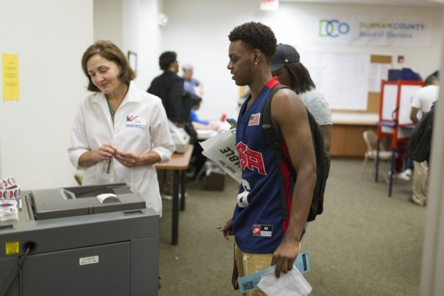 Naje Gibson voting early at North Carolina Central University. (Washington Post)