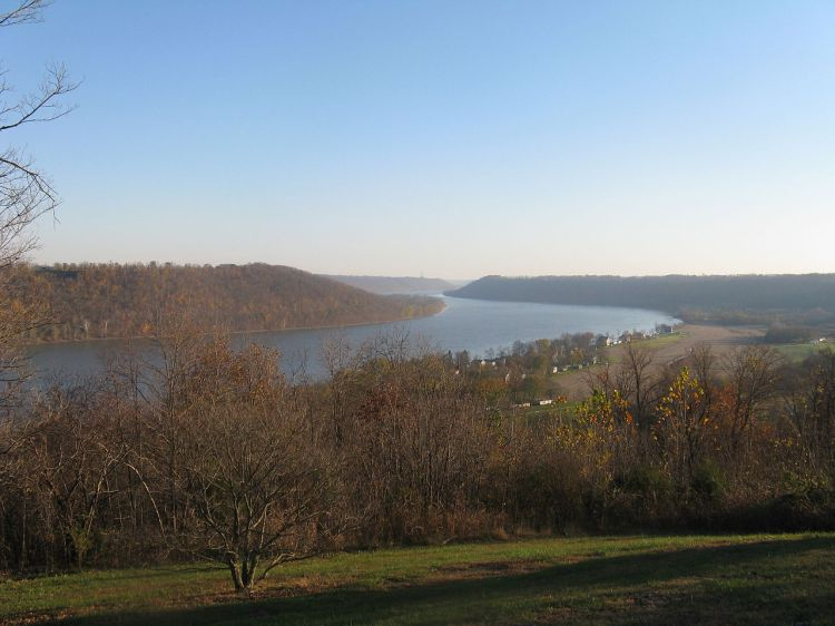 For joy in God's creation: the Ohio River, largest tributary of the Mississippi, seen from The Point in Hanover, Indiana, the only place where you can see the river bend three times. (Wikipedia)
