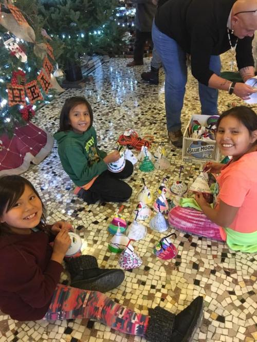 Lakota children from our mission partners at the Rosebud Episcopal Mission in South Dakota were invited to decorate a Christmas tree at the state capitol in Pierre, and set about making it distinctive to their own culture. See below. (The Rev. Lauren R. Stanley)