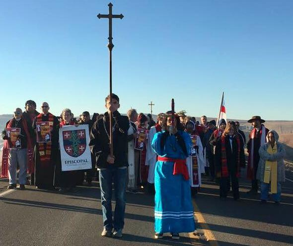 More than 500 clergy and laypeople of many denominations gathered at the Standing Rock Indian Reservation Thursday in North Dakota to protest plans to build a big oil pipeline in a strip of land between the reservation boundary and the Missouri River. (The Rev. Lauren R. Stanley)