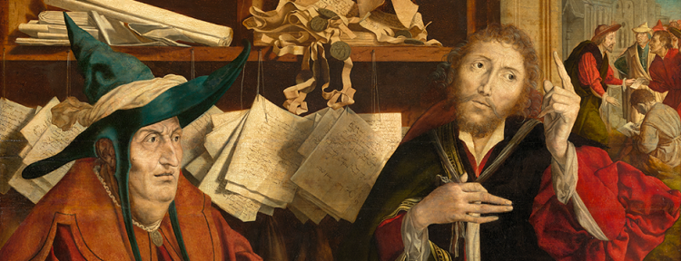 Marinus van Reymerswale: The Unjust Steward; see them haggling in the back room. (Kunst Historiches Museum, Vienna)