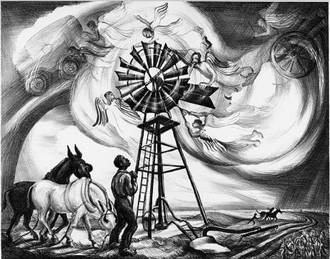 Zekiel Saw the Wheel, a lithograph from 1940; it's everywhere you look. (Talbot Historical Society)