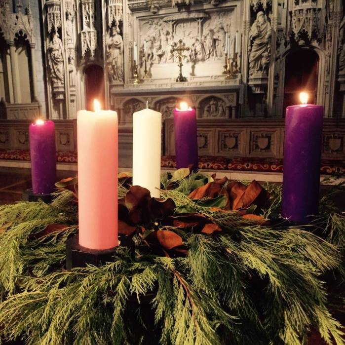"""Advent wreath at Christ Church Cathedral, St. Louis, Missouri, last year. """"Yes, kids, go ahead and light all four candles, but not the center one yet. Be careful!"""" (cathedral photo)"""