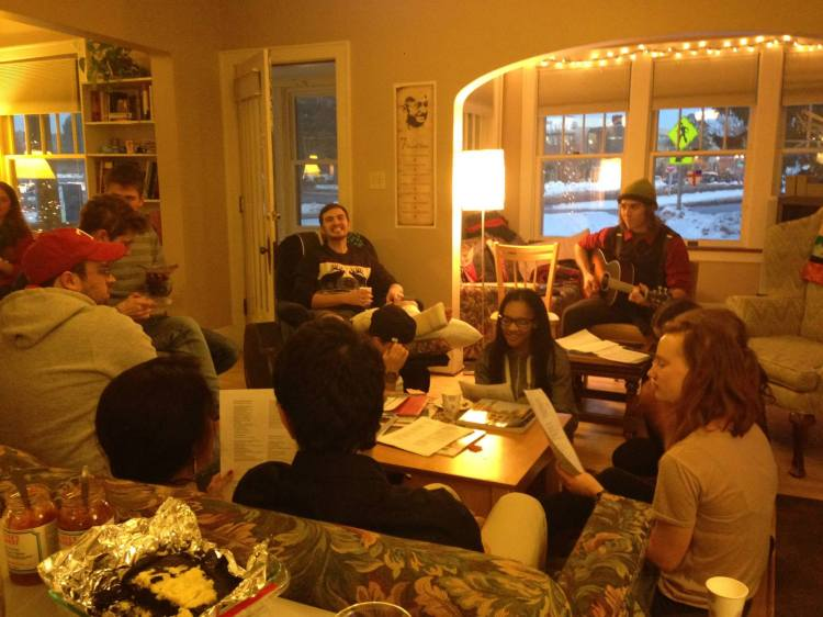 Students at Michigan Technological University in Houghton gathered at Canterbury House recently to do what students always do at such times: play guitar, sing, laugh and eat. May it ever be so. (diocesan photo)