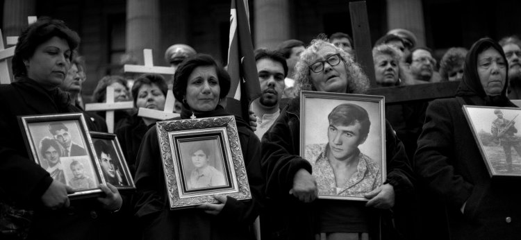 Most people don't remember the Cypriot crisis anymore, but for years it was a flashpoint between Russia and the United States, Turks and Greeks. Above, mothers of Cypriot refugees held up photos of their missing relatives at a demonstration in Melbourne, Australia in 1995, photographed by 17-year-old Ashley Gilbertson, passing by on the way to taking pictures of his friends doing tricks on their skateboards. He never made it to the park; he stayed with those mothers, trying to understand why no one seemed to care. Since then he's devoted his life to photographing refugees; today, he says Manus Island makes him ashamed to be Australian. (Ashley Gilbertson/VII)