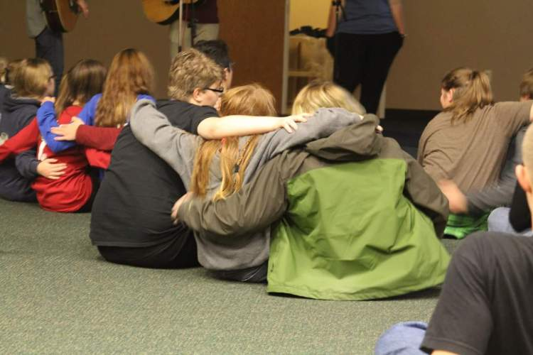 Fall Youth Conference last week at the camp and conference center of the Diocese of Indianapolis. You can't buy this reaction from kids, in church or anywhere else. But time and again you can get it for free at Waycross. (diocesan photo)