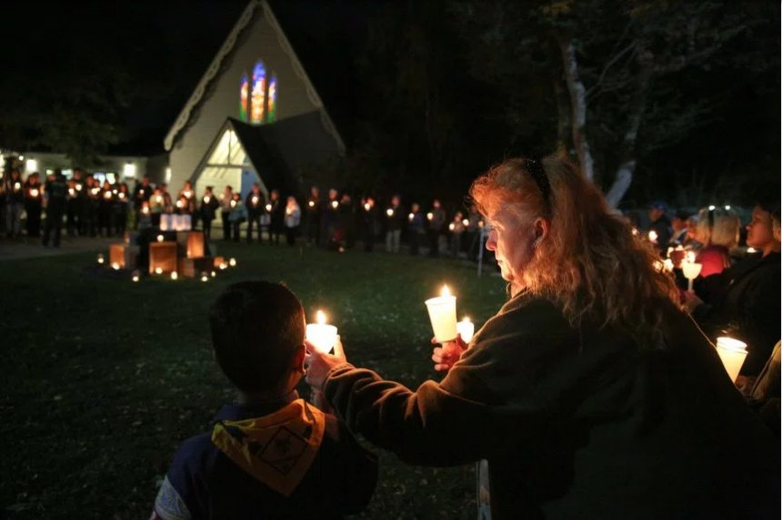 A vigil for the homeless Friday night at St. James's in the Diocese of California. It's an important event this time of year, reminding us all of the unimaginably needy; they had a good turnout, too, thanks be to God. (Joseph Feha/East Bay Times)