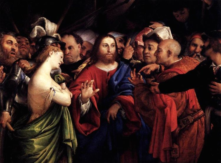 Lorenzo Lotto, 1527-29: Christ and the Women Taken in Adultery (Louvre Museum, Paris)