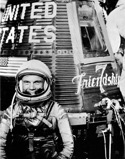 Col. John Glenn with his ship Friendship 7 in 1962. Little-known fact: he was an elder in the Presbyterian Church USA his entire adult life. (NASA)