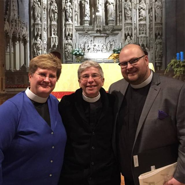 Our beloved Missioner Dr. Maria L. Evans, center, is now a Deacon in the Diocese of Missouri, along with classmates the Rev. Leslie Barnes Scoopmire, left, of this congregation, and the Rev. Andrew Suitter. The devil conjured up an ice storm to keep them from being ordained, but Bishop Wayne Smith tricked him into thinking he'd canceled the service, then ordained Leslie and Andrew late Friday night and Maria the next morning when the devil wasn't looking. (diocesan photo)