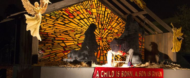 "A controversial Nativity scene two years ago at Claremont United Methodist Church in California depicting homicide victim Trayvon Martin as ""A Child Is Born, A Son Is Given,"" 2014. (John Zachary)"