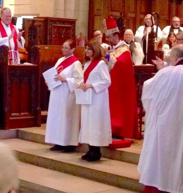 """Carolynn Johnson and Teresa Wakeen were ordained the newest deacons in the Diocese of Michigan by Bishop Wendell Gibbs on Saturday. Ms. Wakeen, one of our members and donors, now moves from """"Candidate for Ordination"""" to """"Deacon"""" on our prayer list. Congratulations! (diocesan photo)"""
