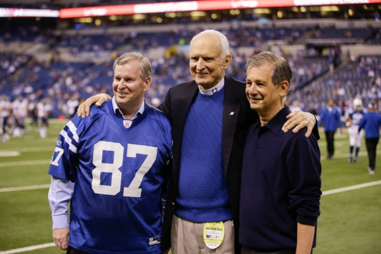 The Rev. William Hudnut has died, a Presbyterian minister and four-term Republican mayor of Indianapolis who brought in the NFL Colts, the governing bodies of amateur sports like gymnastics and swimming, and created a powerful, unelected sports authority to channel hundreds of millions of tax dollars from surrounding counties to pay for them. Above, Hudnut flanked by two successors, Greg Ballard and Steven Goldsmith, at a Colts game in 2014. (Darron Cummings/Associated Press)