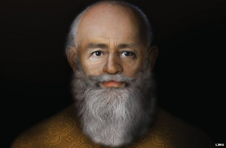 Nicholas was a bishop in modern-day Turkey, where he was persecuted for his faith and became known for his courage and goodness; the Santa Claus character is based on him. Two years ago, scientists at Liverpool John Moores University used facial reconstruction technology to come up with this portrait, which they say is close to what the saint looked like. (university photo)
