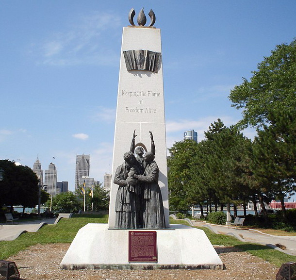 The Underground Railroad Monument in Windsor, Ontario, where thousands of slaves and former slaves crossed the Detroit River into Canada, both before and after Emancipation, because they wanted to escape the United States. (Wikipedia)