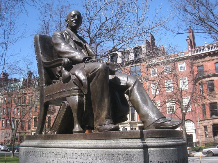 William Lloyd Garrison Memorial, Boston. He got his start in the newspaper business as a 13-year-old apprentice typesetter, then gradually began writing news, observations and opinons. At the end of his apprenticeship he and a partner bought their own newspaper, where they published the poet and abolitionist John Greenleaf Whittier. That paper soon folded and Garrison became editor of the first publication to promote Prohibition along with temperance. At 25 he joined the Abolitionist movement, growing dissatisfied in time with the many proposals to compromise on slavery. When he opened The Liberator, he announced in print that he was all in for the cause. (Olin Levi Warner)