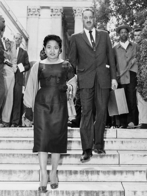 Cecilia and Thurgood Marshall leaving the Supreme Court in 1954 after he won one of the biggest cases in U.S. history, reversing the infamous 1896 decision that approved the American apartheid. He was an Episcopalian, a longtime vestryman and senior warden; his feast day is May 17. (United Press International)