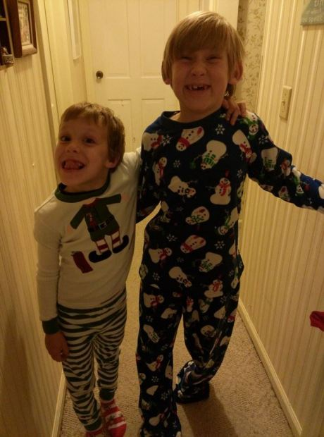 Two brothers from my home parish in their Christmas jammies three years ago. They have grown up considerably since then, but one thing hasn't changed; they get along famously. (family photo)