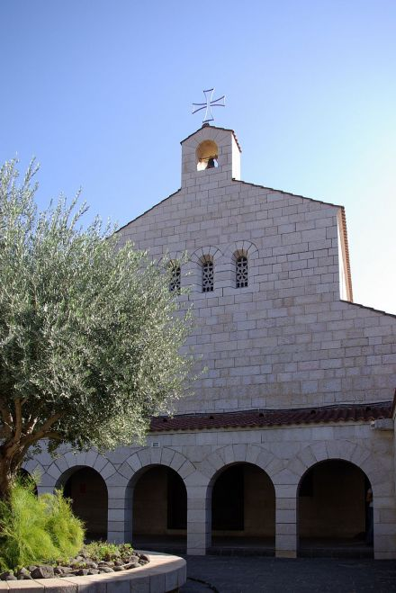 Church of the Multiplication of Loaves and Fish, Tagbha, Israel, said to be the site of Christ's feeding the 5000; this is the third church built at this location. The church was attacked by Jewish extremists in 2015. (Berthold Werner)