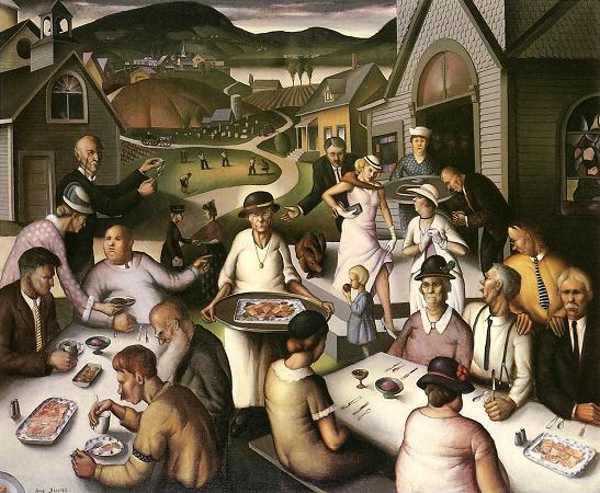 Paul Sample, 1933: Church Supper; many of the men seem highly distracted. (Springfield Museum of Art, Massachusetts)