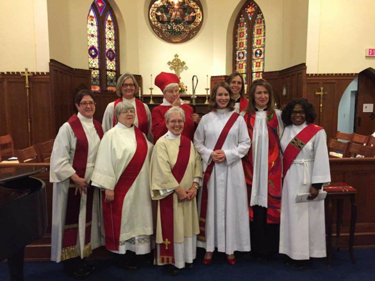 Alissa Goudswaard Anderson (front row, fourth from left) was ordained a deacon Saturday by Bishop Cate Waynick of Indianapolis at our home parish, St. John's, Lafayette. (parish photo)