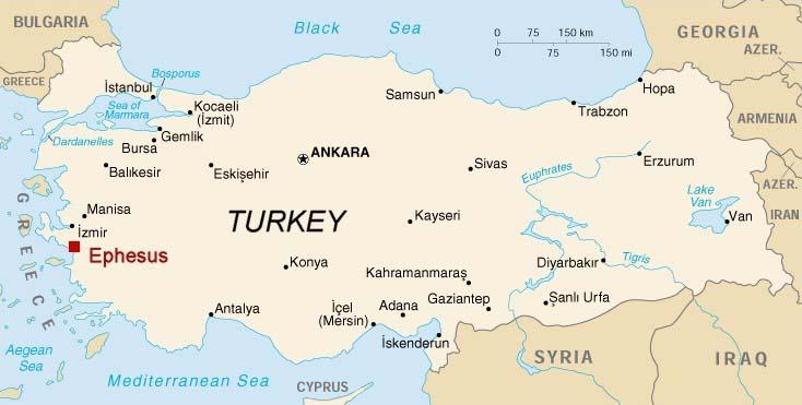Ephesus was a coastal city southwest of Istanbul in modern Turkey. (ephesus.us)