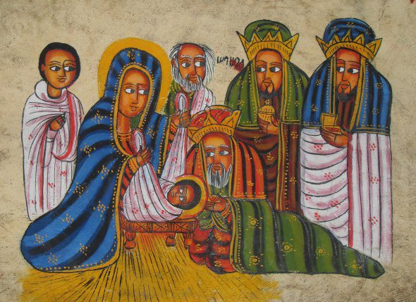 We have no source on this Epiphany icon, but it looks Ethiopian to us, with the sideways eyes and rich colors; it strips away distracting externals to focus on the essential fact: the showing of Jesus to non-Jews within days of his birth. Without this event, most of today's 2 billion Christians would be excluded from what would likely be a small Jewish sect. What this icon depicts, in other words, is the extension of God's kingdom to you.