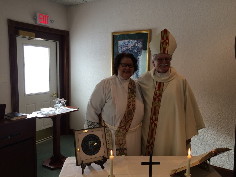 The Bishop of Northern Michigan, Rayford Ray, celebrated the Eucharist Sunday with Deacon Carol Carson-Hull at Holy Innocents', a small but thriving house church at Little Lake, where our chaplain, Mother Gwen Hetler, is one of the presiders. They meet at a funeral home in town in winter months because the area gets so much snow.