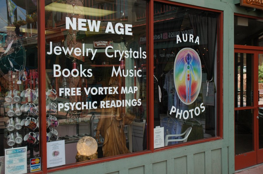 You can buy a picture of your aura at this crystal shop – or you could use PhotoShop or an Instagram filter. What a vortex map might be we haven't fully determined; something to do with energy hot spots, UFOs and the paranormal. (Laura Cowen)