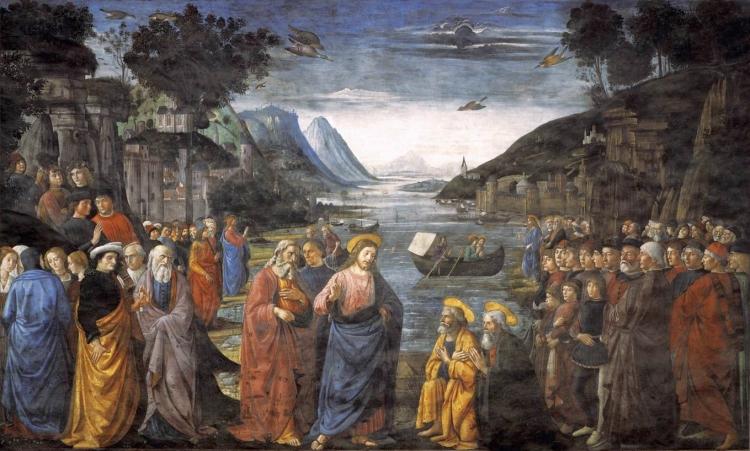 Domenico Ghirlandaio, 1481: Jesus Calling the 12 Apostles