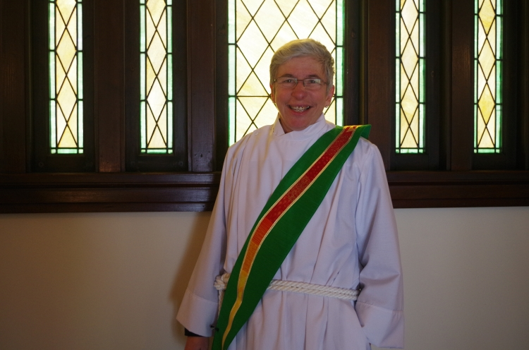 Our Missioner, newly-ordained Deacon Maria L. Evans of the Diocese of Missouri, wore the green stole we bought her for the first time two weeks ago, and afterward sent us this. She is responsible for her achievements, of course, but her ordination was our proudest moment of 2016. (Julie Seidler)