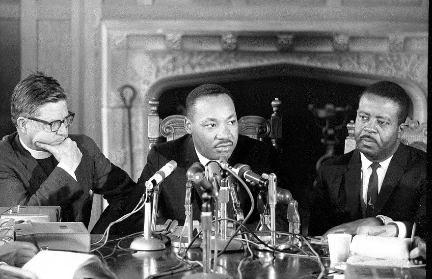 Bishop of California James Pike, Martin Luther King, Jr. and the Rev. Ralph Abernathy, King's successor at the Southern Christian Leadership Conference, at a press conference prior to their appearance at Grace Cathedral, San Francisco in March 1965. (Geroge Conklin)
