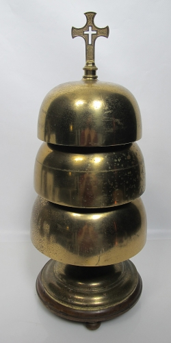 """A 19th century Sanctus bell, of a sort acolytes used to ring 50 years ago. Bells, sounded near the start of the Great Thanksgiving of the Eucharist, were said to """"wake people up,"""" especially Roman Catholics nodding off through the Latin, so they'd pay attention to the heart of the Mass; but in time Episcopalians got habituated to hearing it go off, and thought themselves deprived if they didn't. (eBay)"""