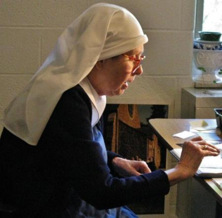 """We ask your prayers today for the repose of the soul of Sr. Hilary of the Community of the Transfiguration in Cincinnati, Ohio; she died a week ago on her name day, the Feast of St. Hilary of Poitiers, and her funeral will be held this morning. """"Receive her into the arms of your mercy, into the blessed rest of everlasting peace, and into the glorious company of the saints of light."""" (convent photo)"""