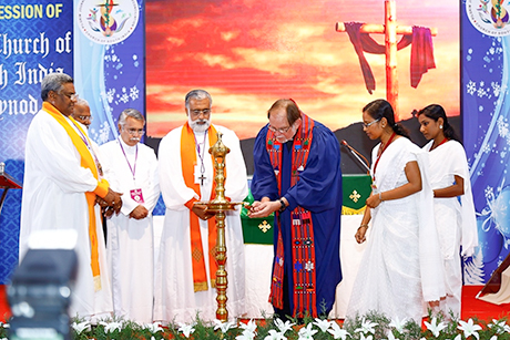 "Thomas Oommen, the Bishop of Madhya Kerala, was elected Moderator of the Church of South India at its 35th Synod in Kottayam, just a few months after celebrating his diocese's 200th anniversary. ""The boundaries of the denominations of the Christian Church must become thinner in order to proclaim Jesus in practice,"" he said. He pledged to continue to ""take up the cause of ecological concerns, of the rights of dalits and adivasis and the need for gender equality. We will continue to oppose injustice, particularly where it concerns the rights of Dalit Christians."" The church was formed in 1947, the year of Indian independence, as a merger of several Protestant denominations while retaining episcopal order and polity. He will serve half-time in his own diocese and half at CSI headquarters in Chennai. (Church of South India)"
