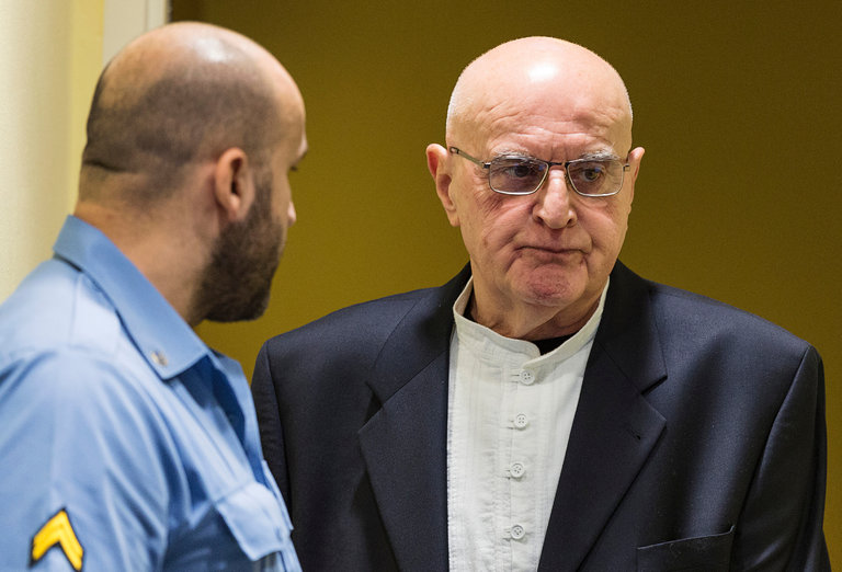 The Bosnian war criminal Ljubisa Beara has died in prison, convicted of helping direct the slaughter of about 8000 Muslim men and boys in Srebenica in 1995, the worst genocide in Europe since the Nazis. He was indicted by the International War Crimes Tribunal in 2002, then allegedly sheltered by the Bosnian government for two years before finally turning himself in. An army colonel, he was convicted of personally supervising the beheading of up to 100 Muslims over a five-day killing frenzy, directing the digging of mass graves and flooding the area with spotlights so the killing could go on all night. (Michael Kooren/pool photo, 2005)