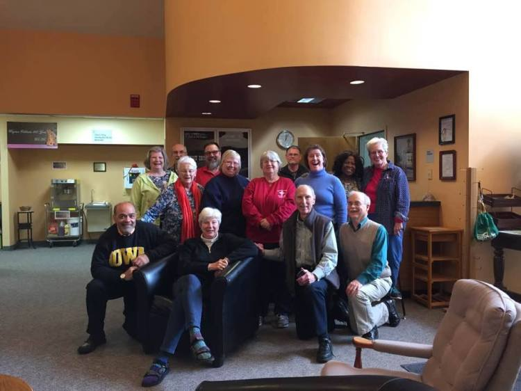 Our Bishop, Cate Waynick of Indianapolis, seated, is retiring in April after 20 years in the Big Mitre, and one of her last events was a retreat this weekend with the deacons of the diocese. She's got other places to go besides the Big Chair, though. (Sean Sullivan)