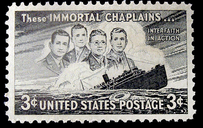 They were two Protestants, a Roman Catholic and a Jew – and they ministered to their men all the same, without regard to religion or creed. They were assigned to accompany 900 U.S. troops sailing from New York to Britain via Greenland aboard the USAT Dorchester. On 3 February, 1943 their ship was fatally struck by torpedoes from a German U-boat; in the chaos that followed most soldiers left their lifejackets behind. Only two of 14 lifeboats made it successfully into the sea, forcing most to jump into the icy waters. The chaplains moved among them, calming and reassuring, passing out lifejackets, and finally giving up their own so more men could live; 230 did survive, but the chaplains linked arms, prayed and went down with the ship. After the war in 1948, the U.S. Post Office issued this first-class commemorative stamp in their memory.