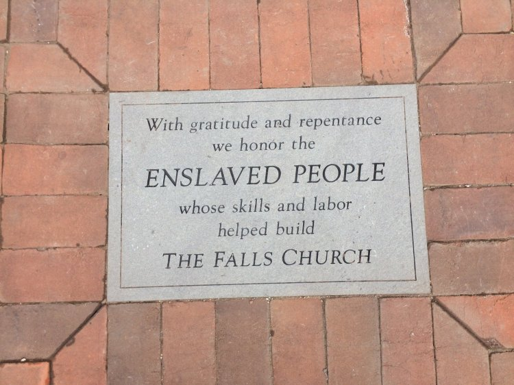 The new plaque in the sidewalk at the Falls Church in Virginia. Perhaps the job of reconciling the parish and its history is only begun, but it is well begun. (parish photo)