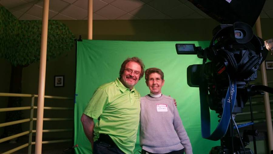 The Diocese of Indianapolis held its Vestry College last weekend at Waycross, the camp and conference center, where the diocesan evangelism officer had a green screen set up for recording brief interviews to be used in parish videos and communications. The response was enthusiastic. (diocesan photo)
