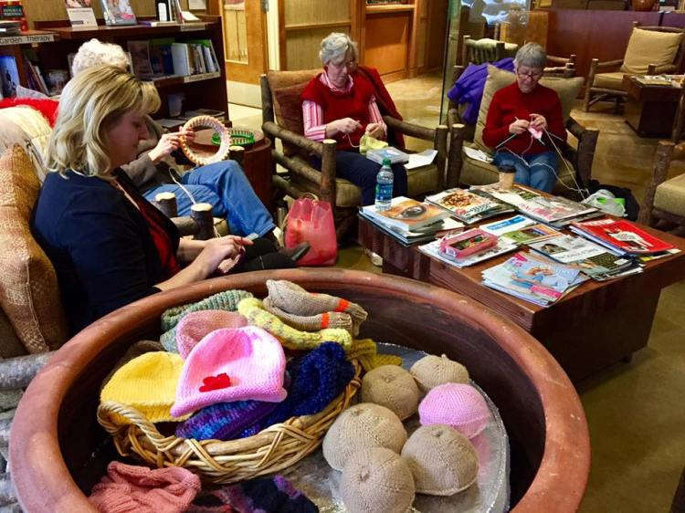 A group of women in Yakima, Washington get together every Tuesday to knit and crochet for a good cause: they make knockers out of yarn for women who have undergone mastectomies. They say the name makes people smile every time it comes up, which makes it easier to talk about a woman's practical needs and to offer support. Wendy Walker, at top, is one of our webcasters and told us they were being interviewed this week for a feature story on the local news. (KNDO-TV)