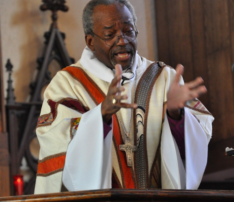 """U.S. Presiding Bishop Michael Curry completed the first of six planned """"revivals"""" in the next two years with his first stop last weekend in the Diocese of Pittsburgh. The 3-day series of events reported good crowds, multiracial and ecumenical leadership, youth events, four of the PB's patented stemwinder sermons, music by the Rodman Street Missionary Baptist Church choir and lots of Amens. """"Episcopal Church, we need you to follow Jesus. We need you to be the countercultural people of God who would love one another, who would care when others could care less, who would give, not take,"""" he told the gathering at Calvary Church in the Shadyside neighborhood. He plans other revivals in the Dioceses of West Missouri, Georgia, San Joaquin, Honduras and a joint evangelism mission with the Church of England in 2018. (Photos and reportage by the Rev. Mary Frances Schjonberg, Episcopal News Service)"""