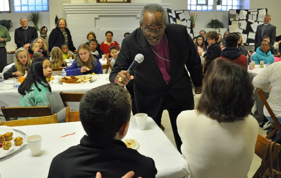 """Bishop Curry had breakfast with diocesan youth leaders at Church of the Holy Cross in the struggling Homewood West neighborhood. Technological change adds to the world's complexity, he told the young leaders, but """"progress as a way of love, progress in living, progress in learning how to live together in all of our differences and varieties may be the ultimate progress that will make the difference for us all."""""""