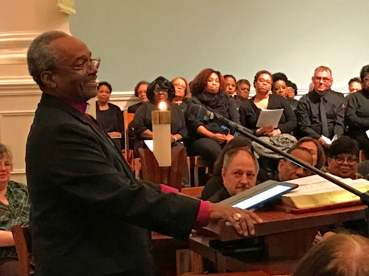 Bishop Curry preached first at an ecumenical service of repentance and reconciliation at Pittsburgh Theological Seminary. David Zubik, the Roman Catholic Bishop of Pittsburgh, read a ten-part confession, the Ministerial Challenge of 1671 from the (Presbyterian) Church of Scotland.