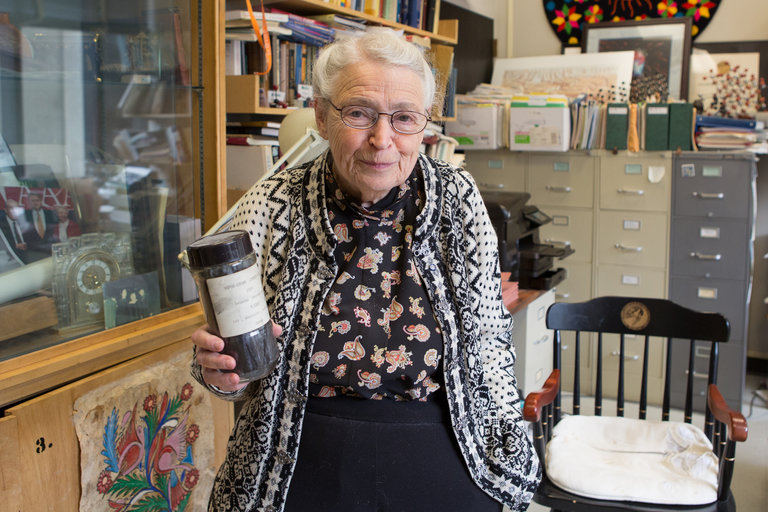 Mildred Dresselhaus has died, an American physicist known for her analysis of the fundamental properties of carbon. She was the first female full professor at the Massachusetts Institute of Technology, and spent her entire career promoting women in science; late in life she even became a bit of a media personality and role model for girls who like math, science and how things work. Above: with vapor-grown carbon fiber – cloth grown in a test tube. She was the author of 1700 scientific papers and developed an array of applications, from superconductors to nanotubes. They called her the Queen of Carbon; now suppose M.I.T. hadn't even given her a chance. (Evan McGlinn/The New York Times)