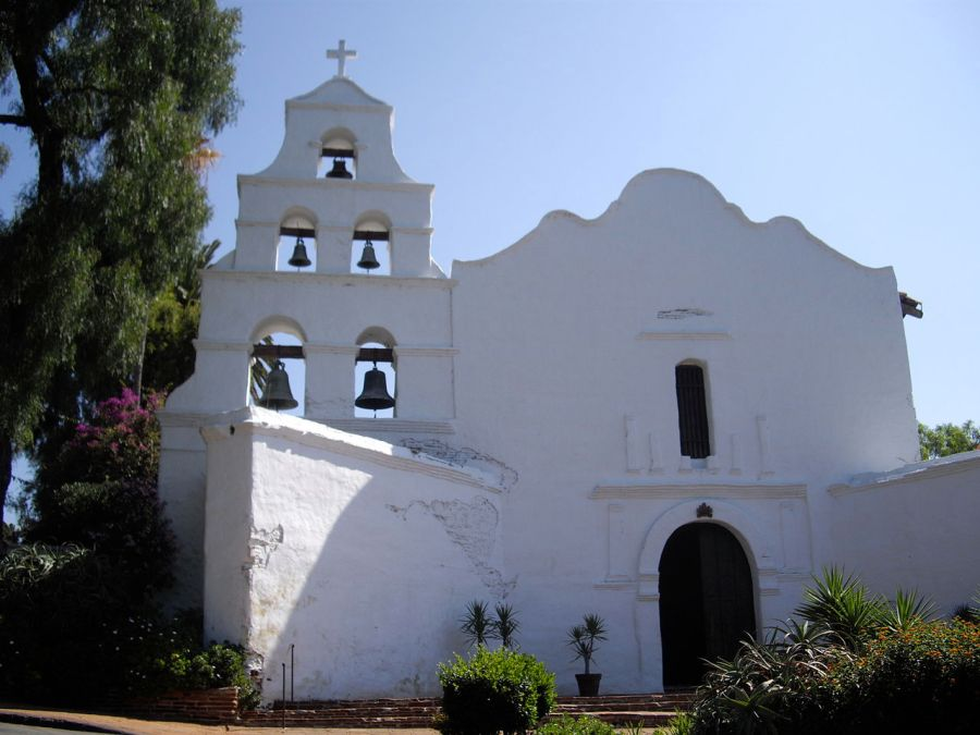 Mission San Diego de Alcalá, California, founded in 1769 by Fr. Junipero Serra, a Spanish Franciscan who set out to Christianize what was then the northwest coast of Mexico. He is remembered bitterly by indigenous Indian tribes in California, but was recently canonized by Pope Francis. (Wikipedia)