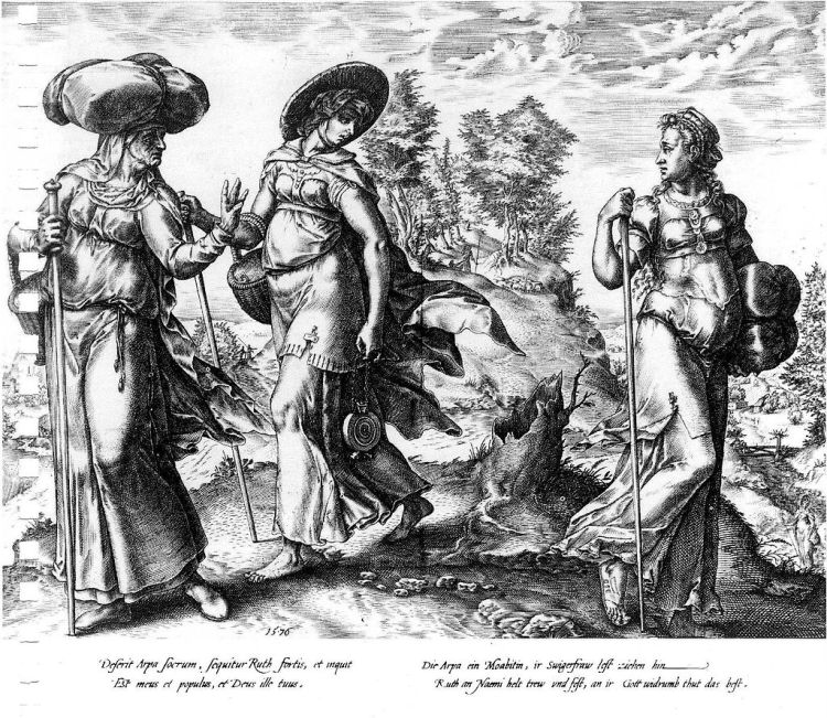 Hendrick Goltzius, 1576: Orpah (on the right) Leaves Ruth and Naomi