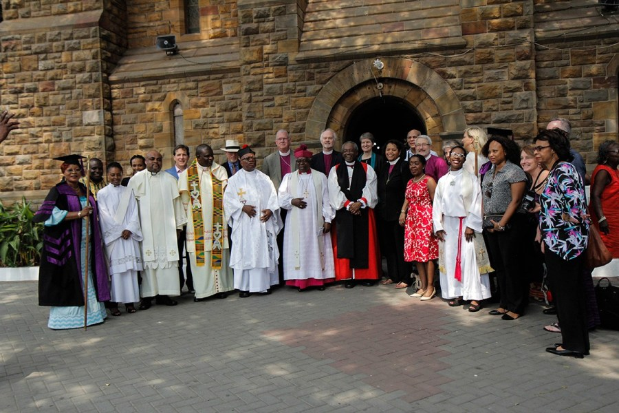 The Presiding Bishop and other pilgrims from the House of Bishops and Episcopal Relief and Development after Eucharist at Most Holy Trinity Cathedral in Accra 22 January. The pilgrims visited ERD-sponsored development programs, including one that provides donkeys for women to use in agriculture, and the NetsForLife office, which combats malaria.